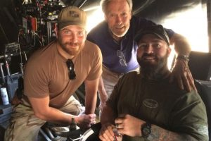 Clint Eastwood and Bradley Cooper on set of American Sniper